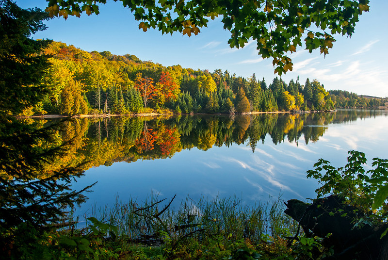 A fall morning reflections on Grand Sable Lake in the Pictured Rocks National Lakeshore.
