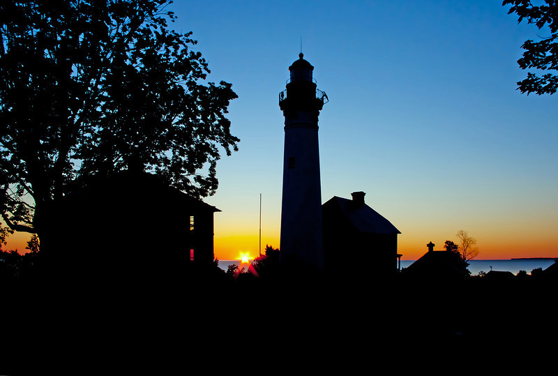 Sunrise at Au Sable Point Lighthouse in the Pictured Rocks National Lakeshore.