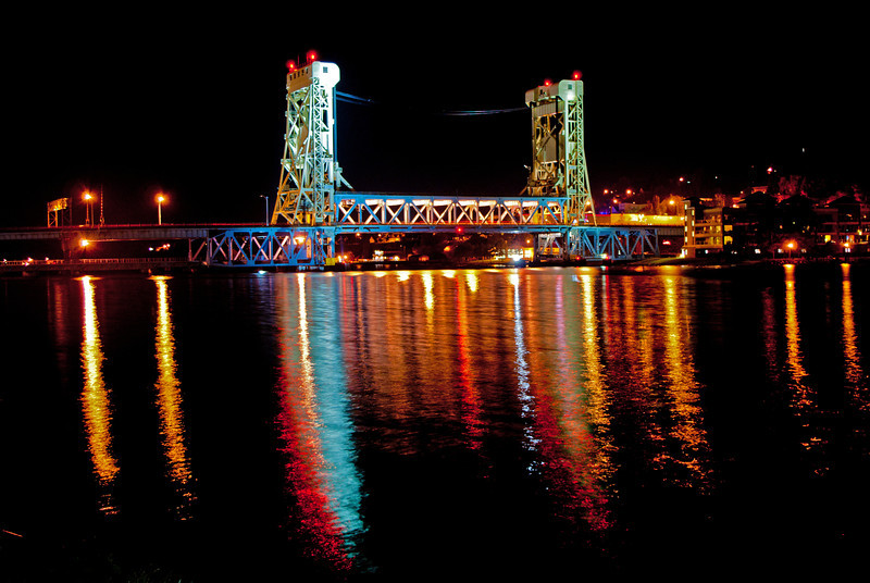 The Houghton–Hancock Bridge also known as the Portage Lake Lift Bridge connects the cities of Hancock and Houghton Michigan.