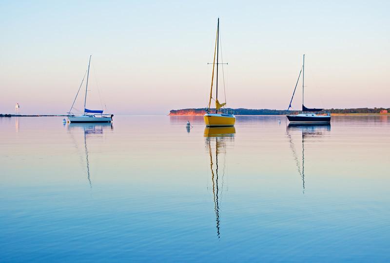 Calm summer evening on the bay in Grand Marais Michigan.