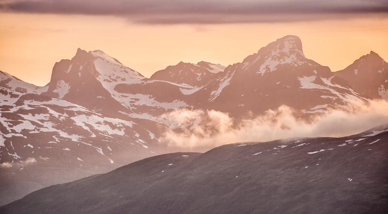 Fiery Sky, Snowy Mountains