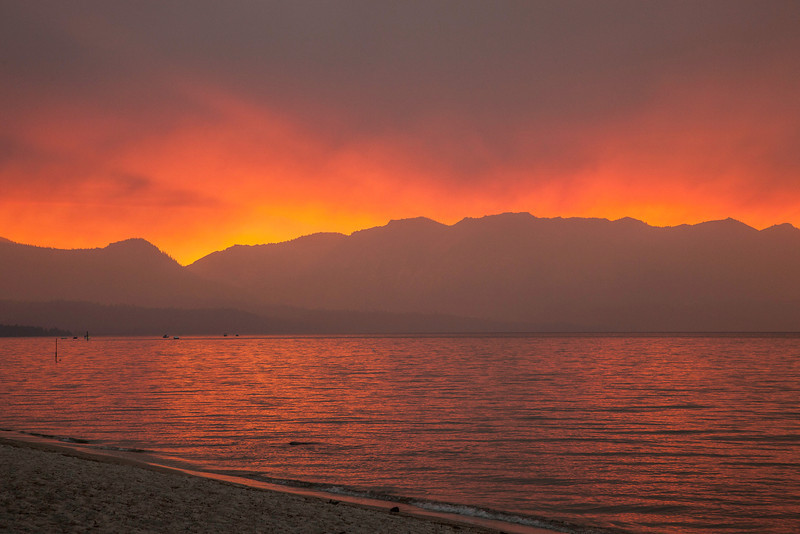 Sunset at Lake Tahoe during forest fire 2