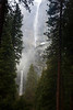 Yosemite Falls in fog.