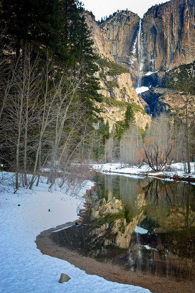 Reflection of Yosemite Falls in Merced River.