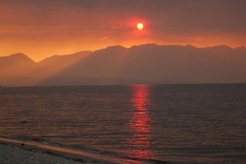 Sunset at Lake Tahoe during forest fire 1