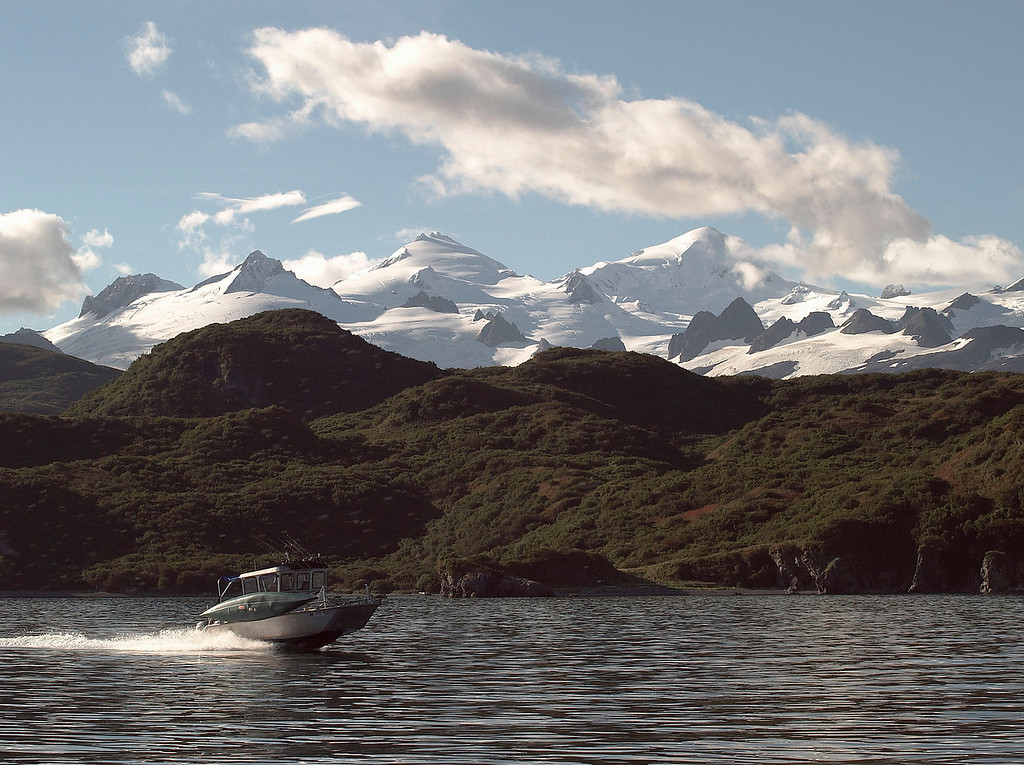 The mountains had fresh, never to be touched by humans, powder.  That's one of the boats that took us to the bears.