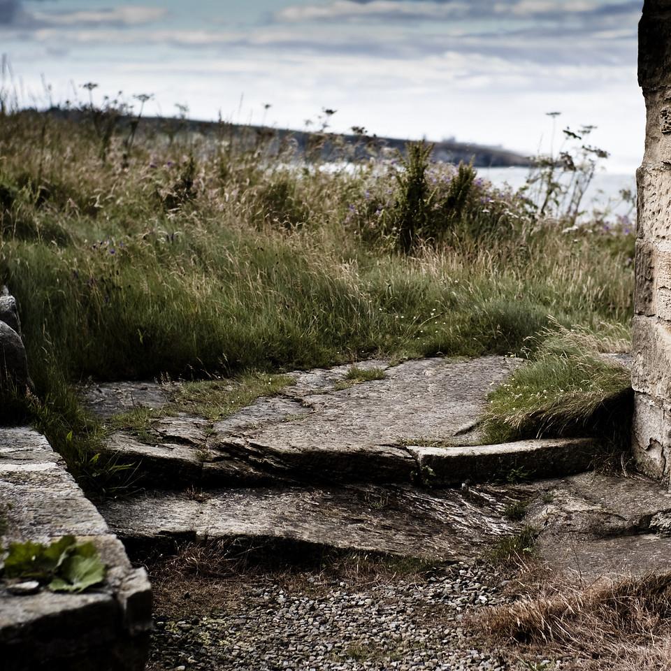 The Bathing House, Howick Estate, Northumberland UK, Dunstanburgh on the horizon