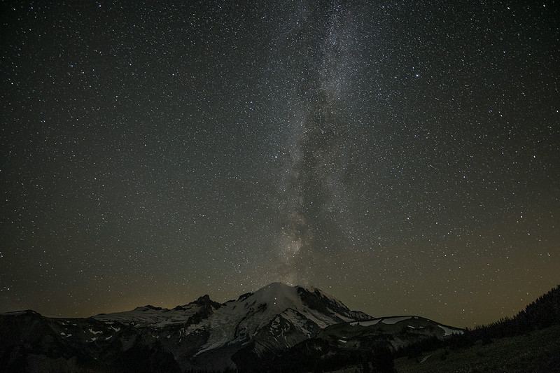 Milky Way over Mt. Rainier. Lights on mountain are climbers making their way to the summit. Taken at 2:18am.