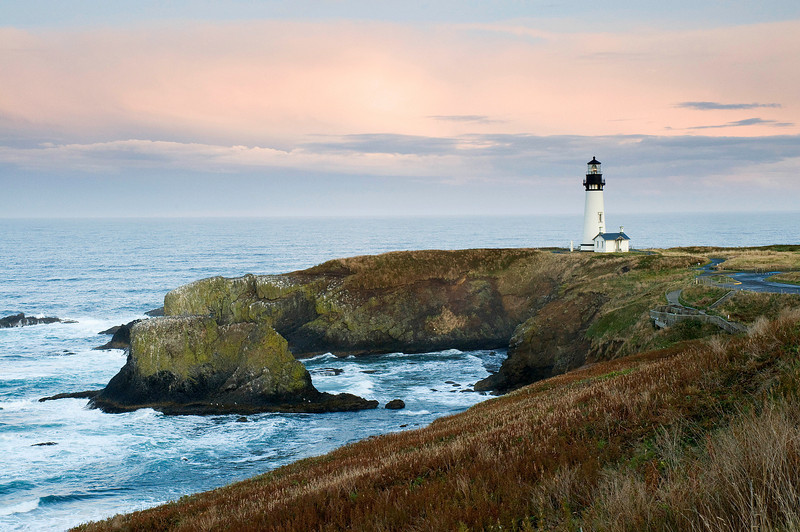 Yaquina Head Lighthouse at Sunset. Central Oregon Coast. Early October.