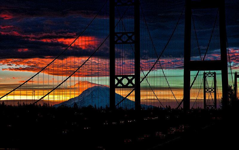 Sunrise over the Tacoma Narrows, Tacoma, WA. Mt. Rainier. Used a little Topaz 5 Spicify in processing.
