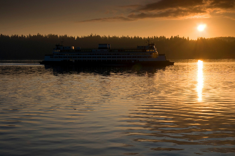 Bremerton to Seattle Ferry in Rich Passage, Early Morning