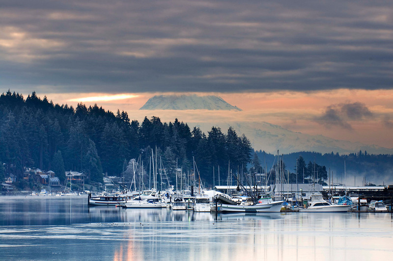 Angry Sunrise    Gig Harbor, Washington. Mt. Rainier in the distance.