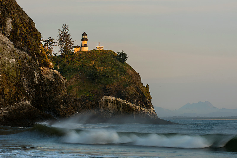 Cape  Disappointment Lighthouse in evening light. Cape Disappointment State Park, Ilwaco, WA