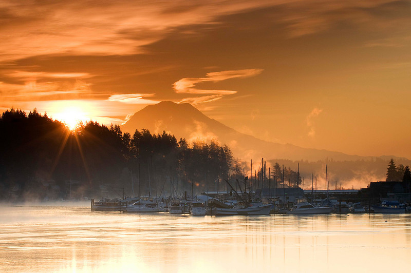 "Cold Fall Sunrise in the Harbor. Gig Harbor, WA. Won ""Best of Show"" and ""Peoples Choice Award"" 2010 Mountaineers Photo Exhibition."