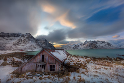 Lofoten Islands, Winter dreary Day,  Photo tour with Adrian Szatewicz. Places visited today:Shot along the beach at Flakstapollen for ice cracks, Vitken is where we shot along the beach with colorful reflection pools, Ballstad is a hipping port where we stopped for lunch and shot around the harbor