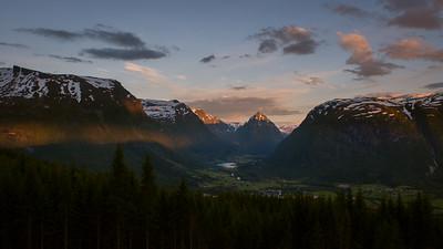 Sunset over the Eggjenibba.  Jostedalsbreen National Park, Norway