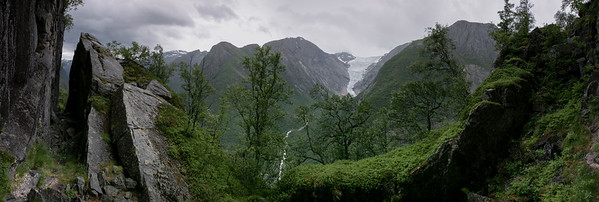 Looking towards the Briksdalbreen from the slopes of Balafjellet on a very steep trail.  Jostedalsbreen National Park, Norway