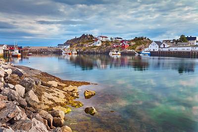 Hamnoy. Image of fishing village in Lofoten Islands area in  Norway.
