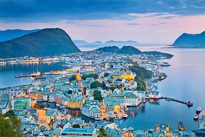 Alesund. Image of norwegian city of Alesund during twilight blue hour.