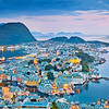 Alesund. Image of norwegian city of Alesund during twilight blue hour.