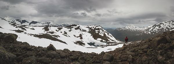 Hiking up to top of the Skala, looking towards Vesleskla.  Jostedalsbreen National Park, Norway