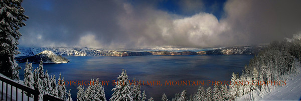 A Broody view of Crater Lake following the first snow fall of the season.