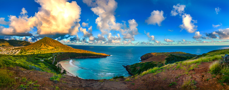 Hanauma Bay Sunset 6 pic panorama