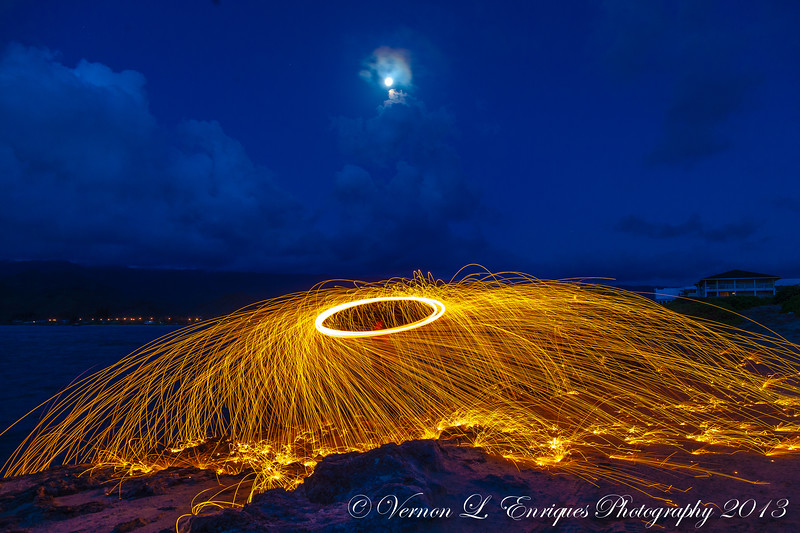 Laie Point / Steel Wool Trick...Lighted and hand swung around...to create  these thrown sparks...that created this neat picture!