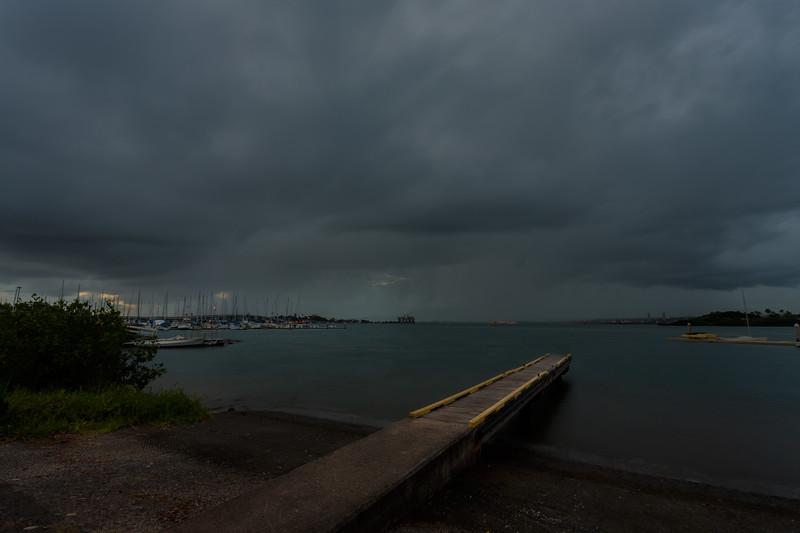"""Pearl Harbor Sunset Oahu Hawaii  Stormy"""