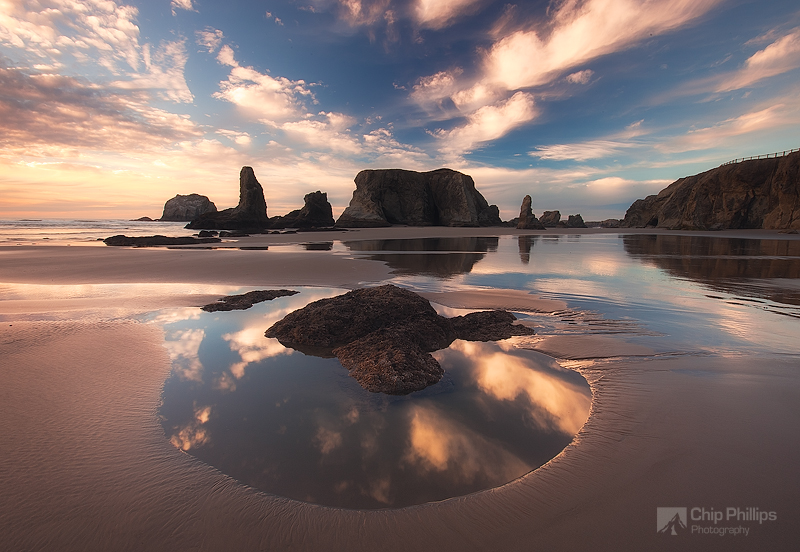 """""""Bandon Beach Cloud Reflections #2""""  Clouds reflecting in a pool at low tide around sunset.  Bandon, Oregon Coast"""