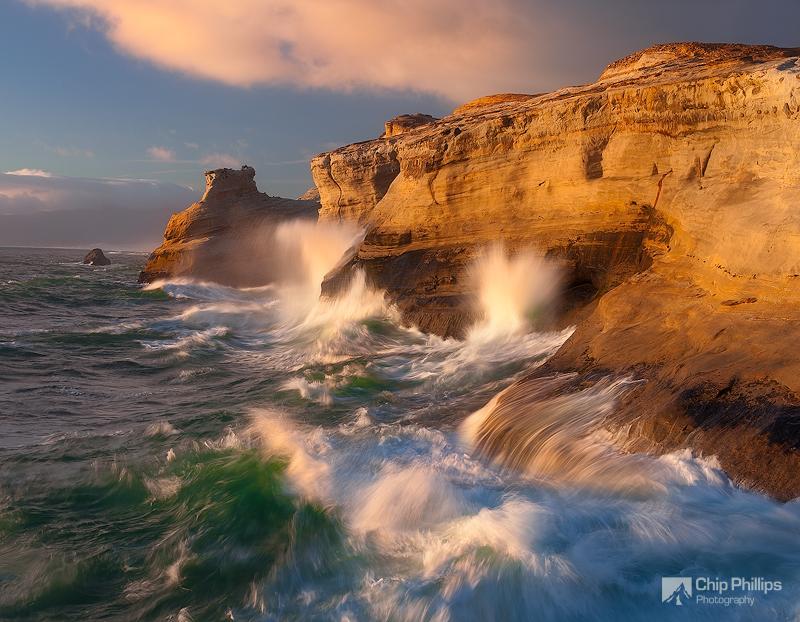 """""""Kiwanda Sandstone Sunset""""  Evening glow and crashing waves out on Cape Kiwnada, Oregon Coast"""