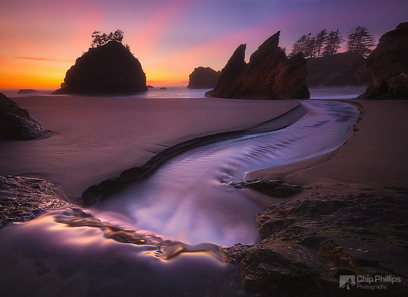 """Ocean Cascade Sunset""