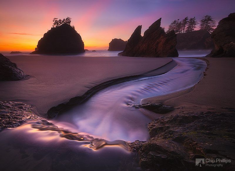 """""""Ocean Cascade Sunset""""  A small cascade leads to the ocean at sunset on the Southern Oregon Coast"""