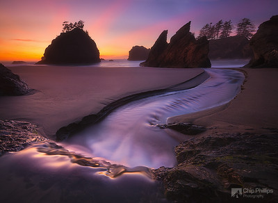 """Ocean Cascade Sunset""  A small cascade leads to the ocean at sunset on the Southern Oregon Coast"