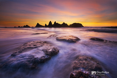 """""""Seal Rocks Sunset""""  Sunset at Seal Rock State Park on the central Oregon Coast."""