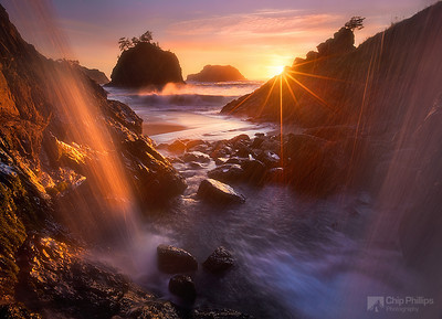 """Ocean Waterfall Oregon Coast.""  Sea Stacks at sunset shot from behind a waterfall on the Oregon Coast."