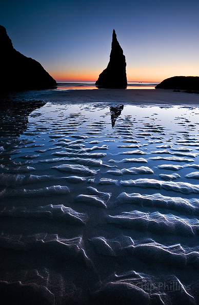 """""""Bandon Sea Stack at Twilight""""  One of my favorite sea stacks on the entire Oregon Coast seen at twilight. Bandon, Oregon Coast"""