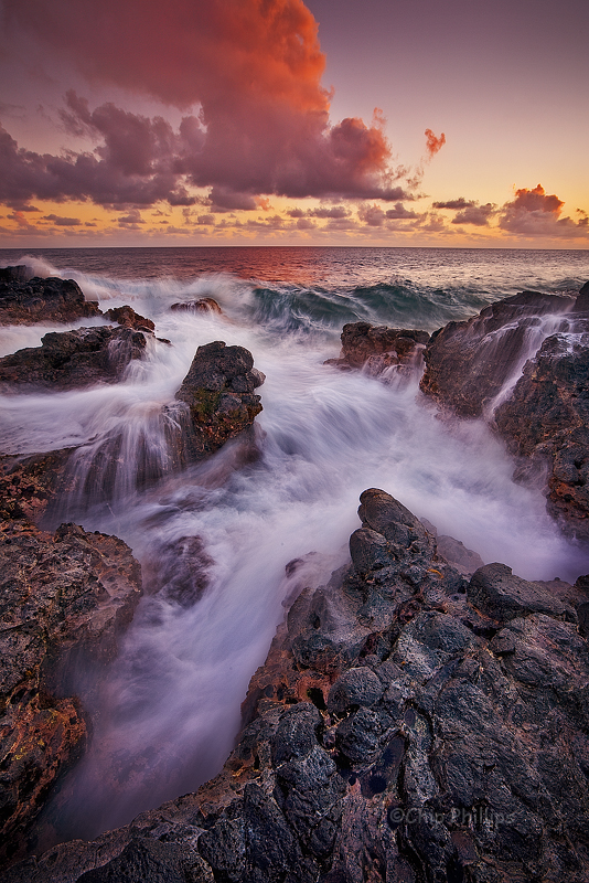 """Poipu Lava Sunset""  Channels in the lava rock at sunset. Kauai, Hawaii"