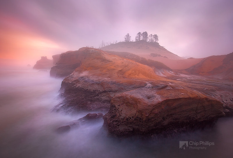 """""""Misty Morning Cape Kiwanda""""  A very long exposure and morning mist created this surreal rendition of the Cape. Pacific City, Oregon Coast"""