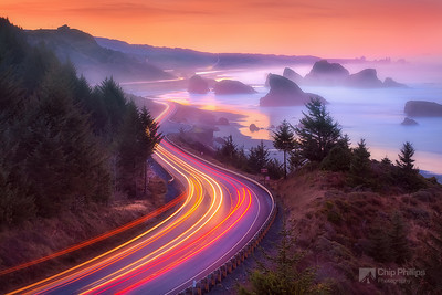 """Pistol River Sunrise""  Pistol River, Southern Oregon Coast.  A very long exposure was used to capture the light streaks of passing traffic on Highway 101."