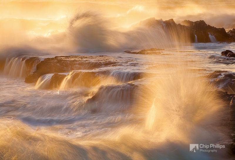 """""""Churning Sea, Yachats Oregon""""  Crashing waves during high seas at sunset. Yachats, Central Oregon"""
