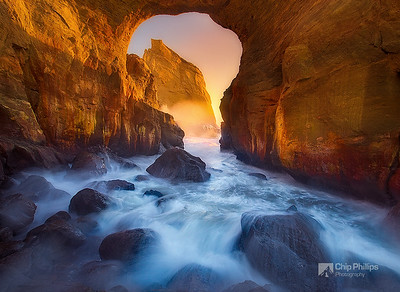 """""""Cape Kiwanda Key Hole""""  A natural arch on the less photographed side of Cape Kiwanda. Pacific City, Oregon Coast.  This arch is no longer standing.  I'm thankful that I had the opportunity to photography it while it was still there."""