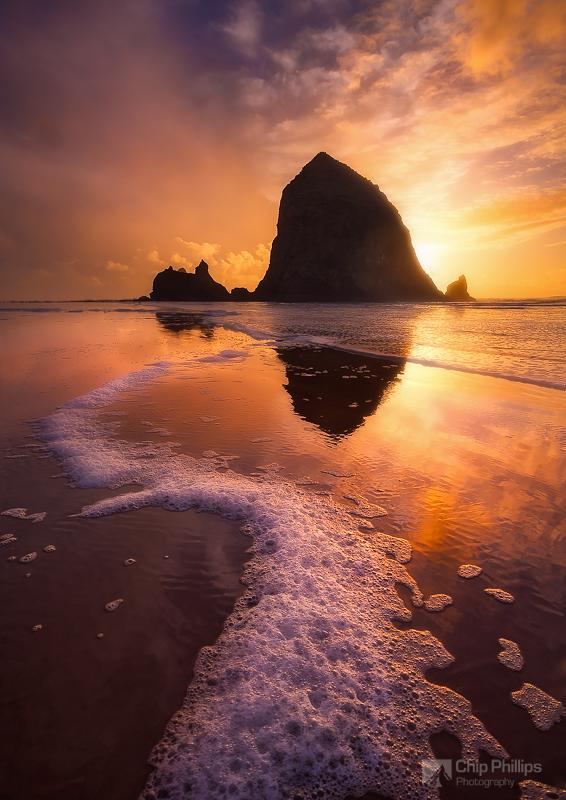 """winter Sunset Haystack Rock"""