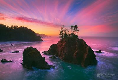 """Samuel Boardman Sunrise""  The rugged islands off shore seen at sunrise in Samuel Boardman state park on the Southern Oregon Coast"