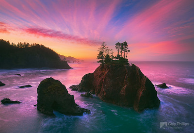 """Samuel Boardman Sunrise""  The rugged islands off shore seen at sunrise in Samuel Boardman state park on the Southern Oregon Coast"