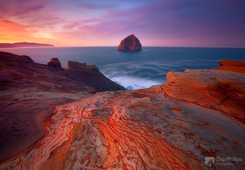 """Kiwanda at Sunrise""  Sunrise on Cape Kiwanda. As the sun came up over my left shoulder, the sandstone began to glow.   Pacific City, Oregon Coast"