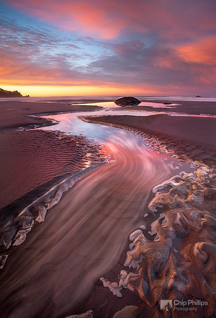 """Second Beach Sand River""  I was able to capture motion in this slowly moving sea foam with a very slow shutter speed. Taken at low tide in Olympic National Park of Washington State."