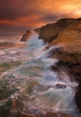 """""""Crashing Sea Cape Kiwanda""""  Rough seas captured at sunrise from Cape Kiwanda on the Oregon Coast."""
