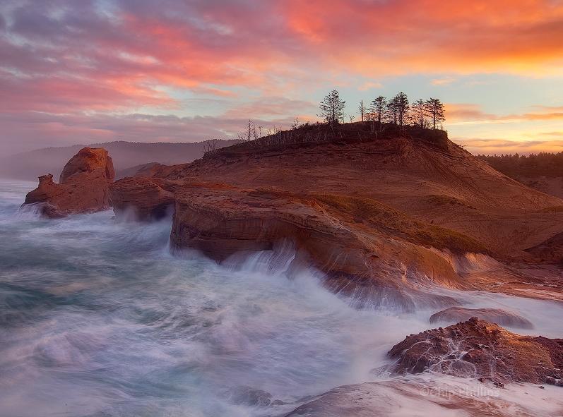 """Cape Kiwanda Sunrise""  Sandstone bluffs at sunrise from out on Cape Kiwanda. Pacific City, Oregon Coast"