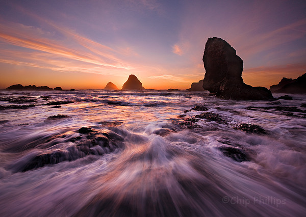 """Tunnel Beach Sea Stacks""  Sunset in Oceanside, Oregon Coast."